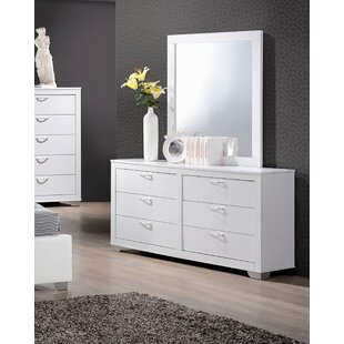 Louise 6 Drawer Double Dresser with Mirror