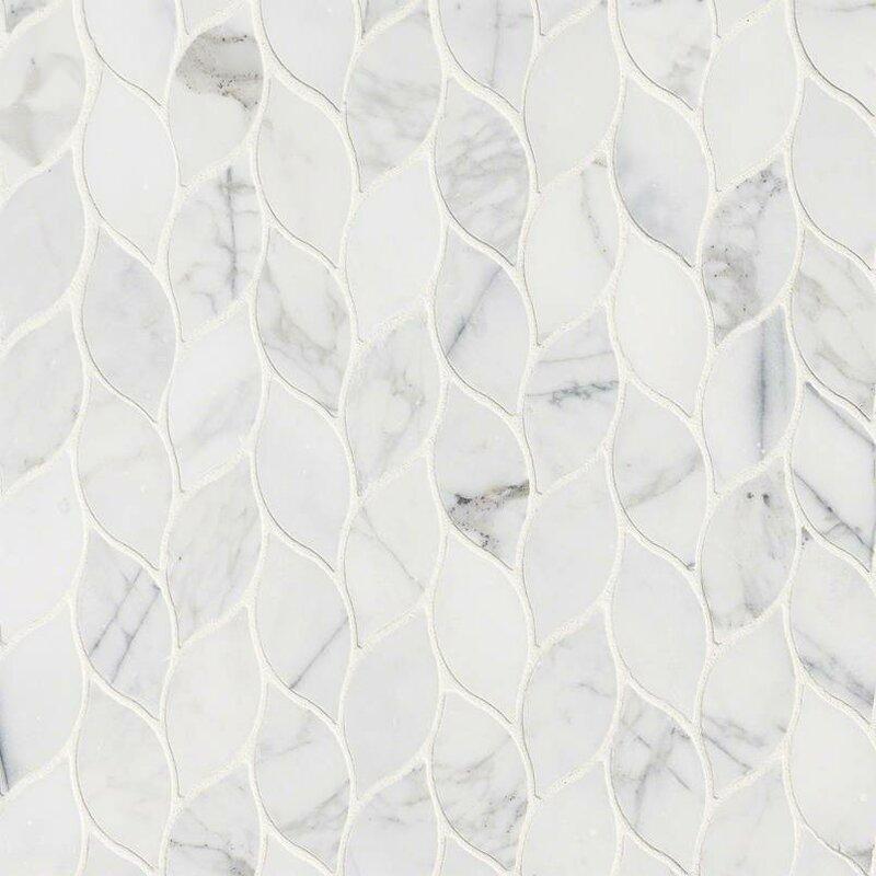 Sample Carrara White Marble Gray Glass Linear Mosaic: MSI Calacatta Blanco Pattern Polished Marble Mosaic Tile
