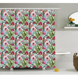 Naya Tropical Botanic Cactus Desert Plants With Flowers and Buds Artwork Image Single Shower Curtain