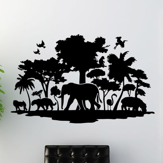 Wall decals Safari Africa Elephant Palm Trees Tiger Decoration Set 1