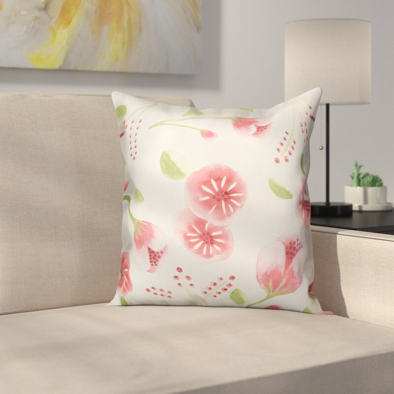 Marburger Watercolor Buds Throw Pillow
