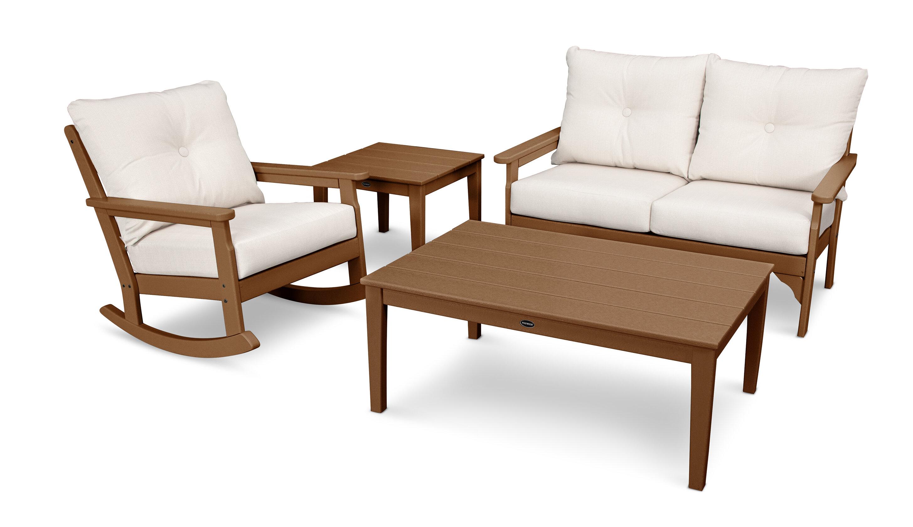 Polywood Vineyard Deep Seating 4 Piece Conversation Set With Cushions Wayfair