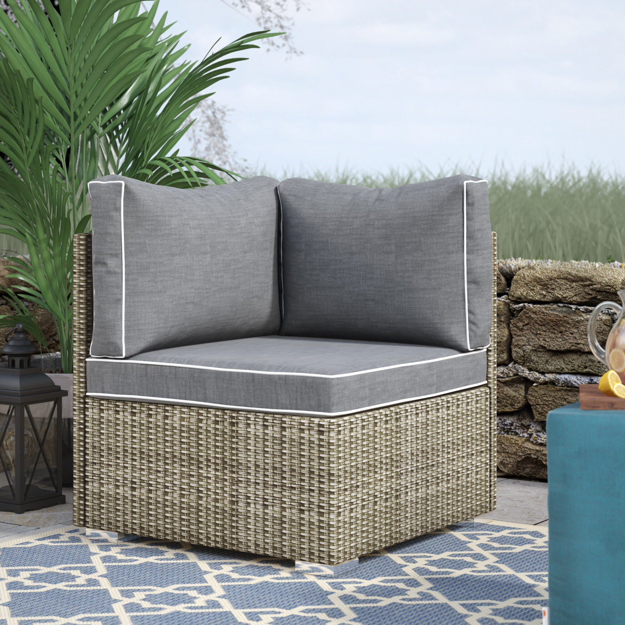 Highland Dunes Heinrich Outdoor Corner Patio Chair With Cushion Reviews Wayfair
