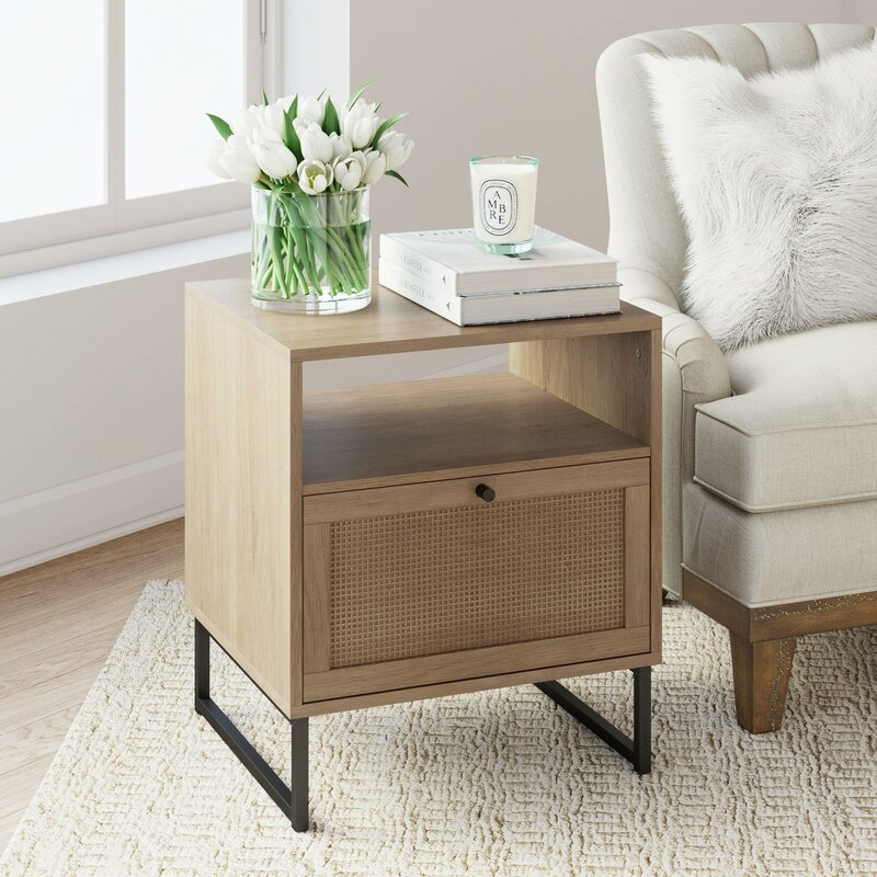 hugette sled end table with storage  reviews  joss  main