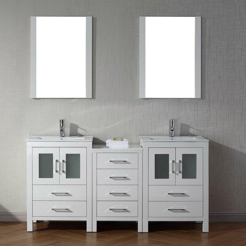 Brayden Studio Frausto  Double Bathroom Vanity Set With Ceramic - 66 double sink bathroom vanity