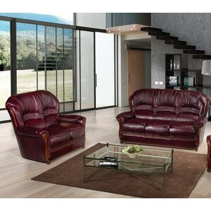 Burgundy 2 Piece Leather Living Room Set by ..