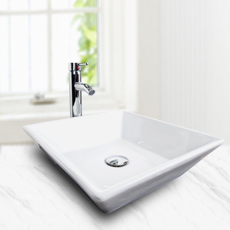 Elecwish Ceramic Square Vessel Bathroom Sink With Faucet Wayfair