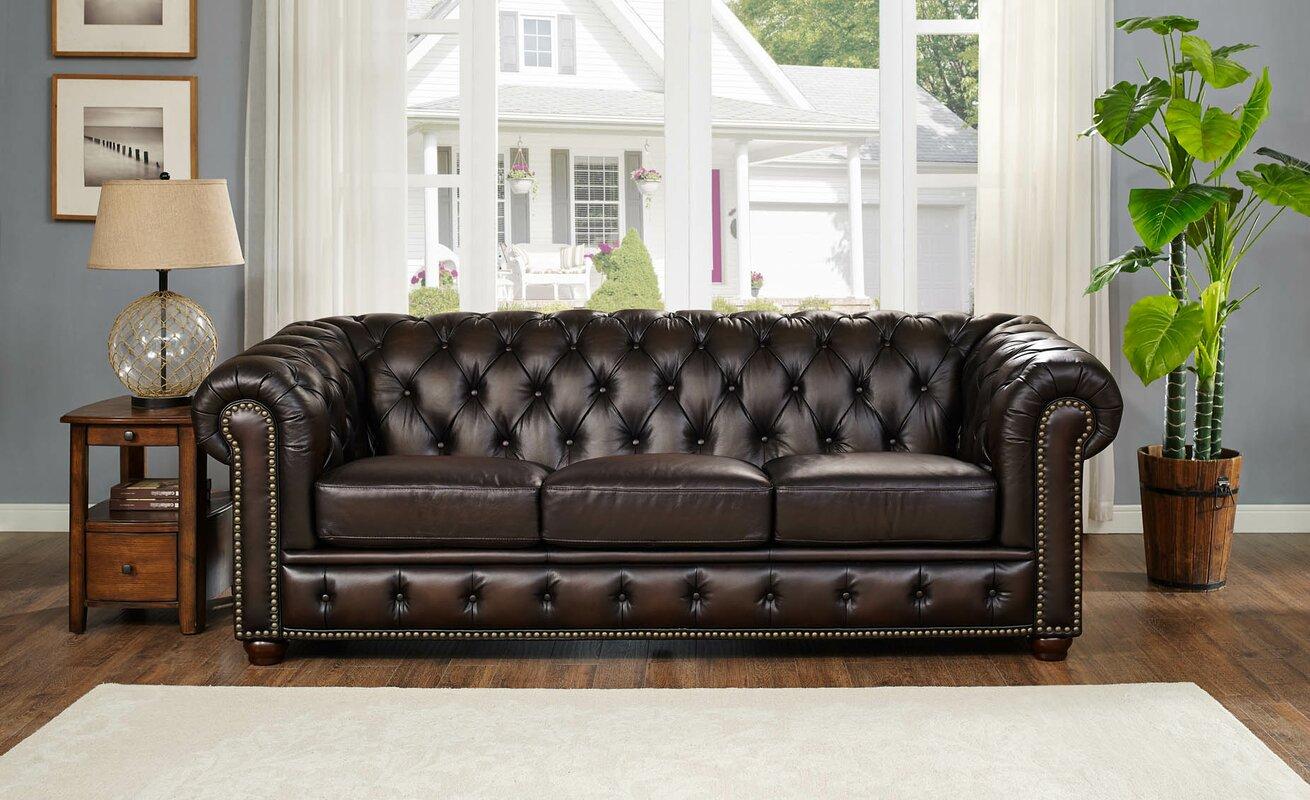 Fleur De Lis Living Katharine Top Grain Leather Sofa Reviews  ~ Full Top Grain Leather Sofa