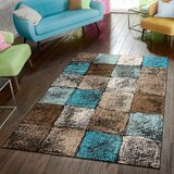 Keneipp Geometric Turquoise/Brown Area Rug