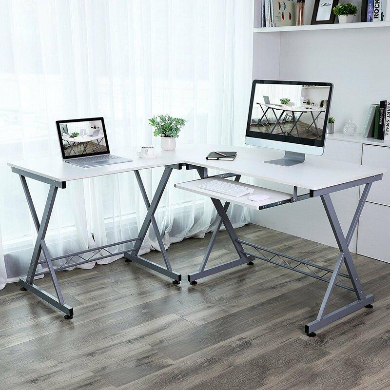 Everette L-Shaped Large Corner Workstation Writing Desk