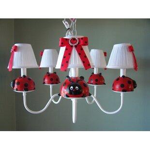 Silly Bear Lighting Little Ladybug 5-Light Shaded Chandelier