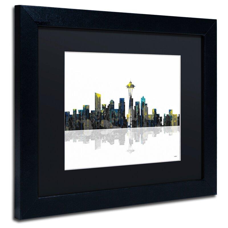 Trademark Art Seattle Washington Skyline Framed Graphic Art On Canvas Wayfair