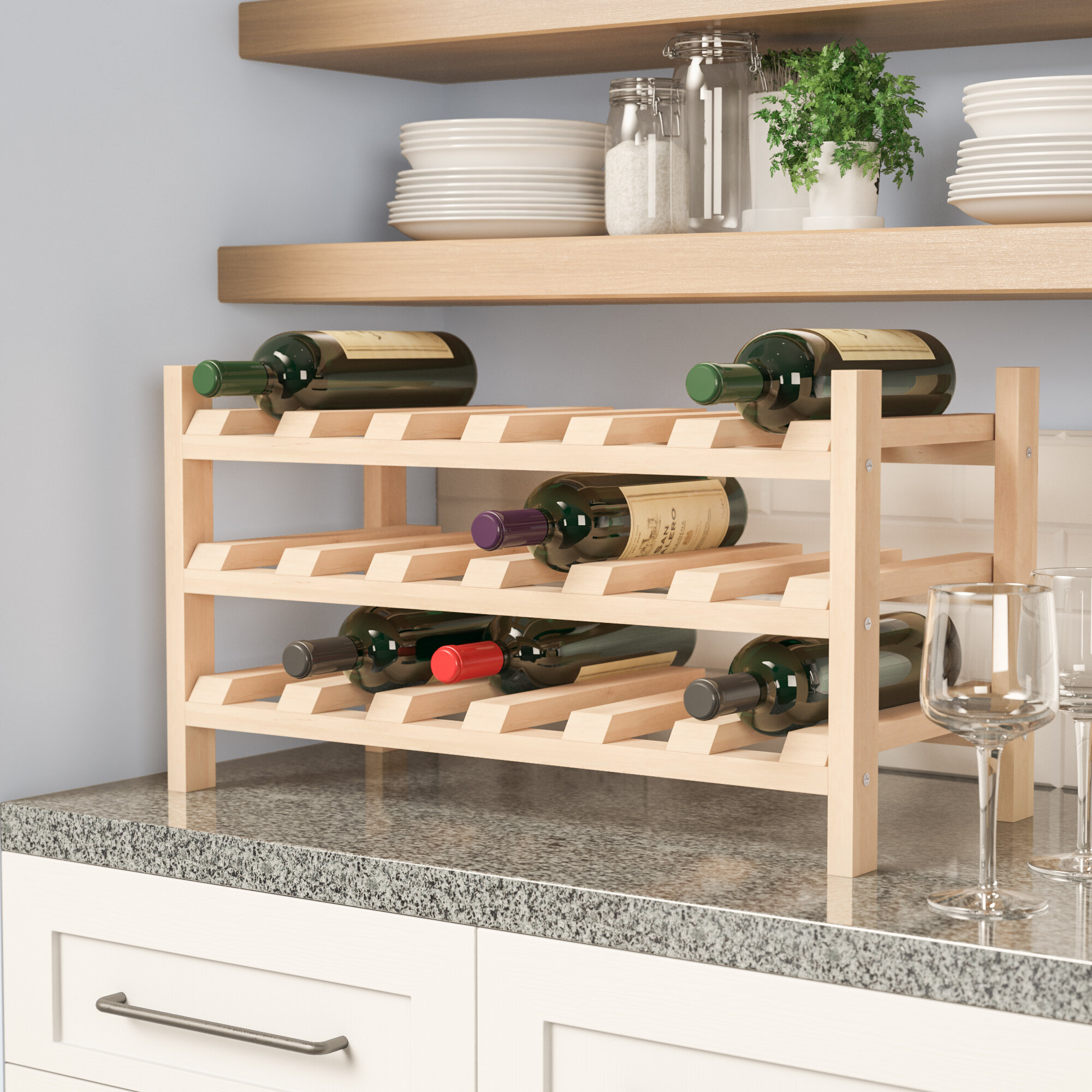 awesome kitchen stand floating of rustic bakers wood rack wine corner