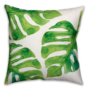 Palm Cove Watercolor Palm Leaf Throw Pillow