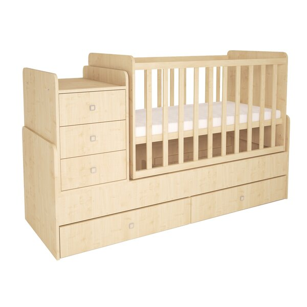 Baby Bed Cot Complete Set Baby Bed Convertible Solid Wood Mattress 120cm