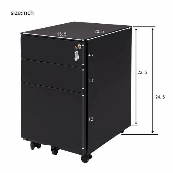 Inbox Zero 3 Drawer Mobile Metal Lockable Under Desk Vertical Filing Cabinet Wayfair