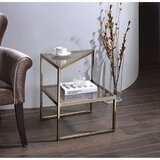 Zenobia Glass Top Sled End Table by Everly Quinn