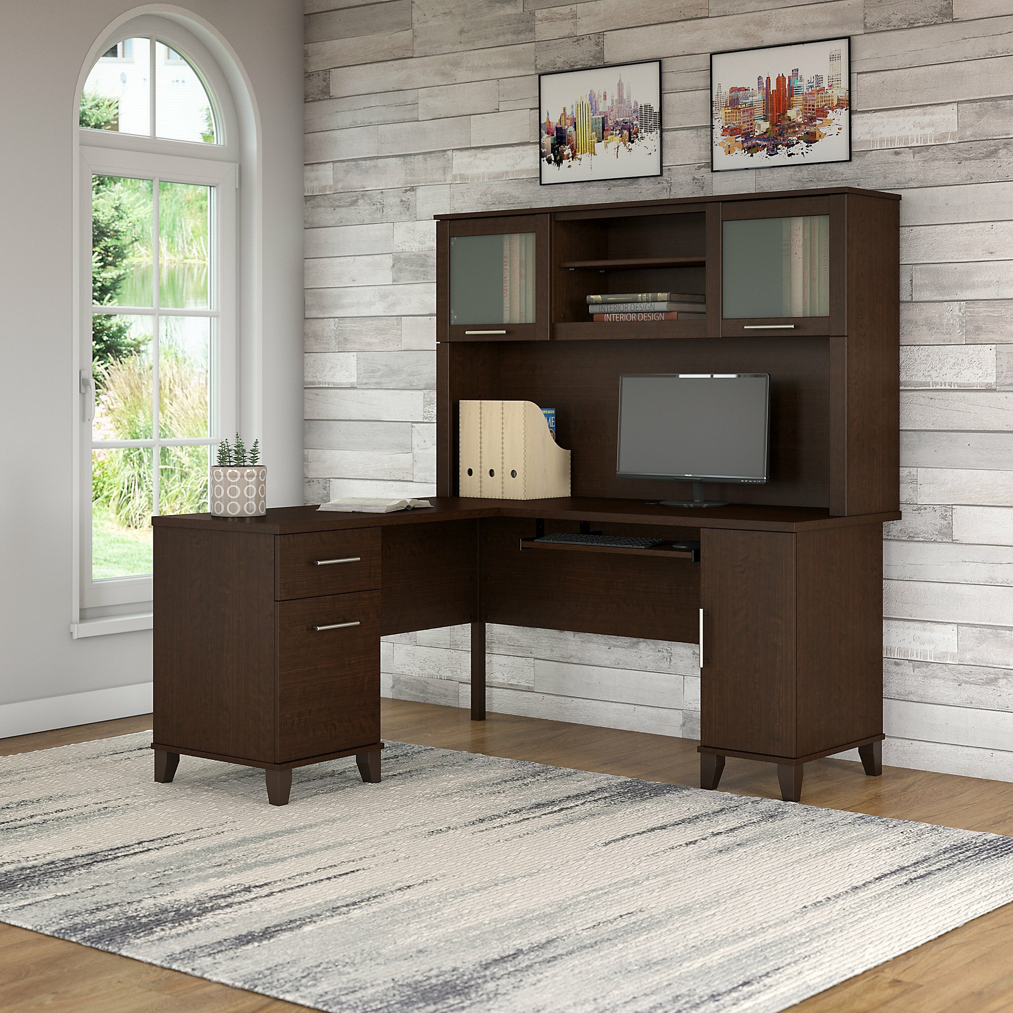 Latitude Run Kittle Somerset L Shaped Executive Desk With Hutch