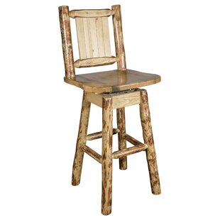 Tustin 24 Wood Swivel Bar Stool Loon Peak