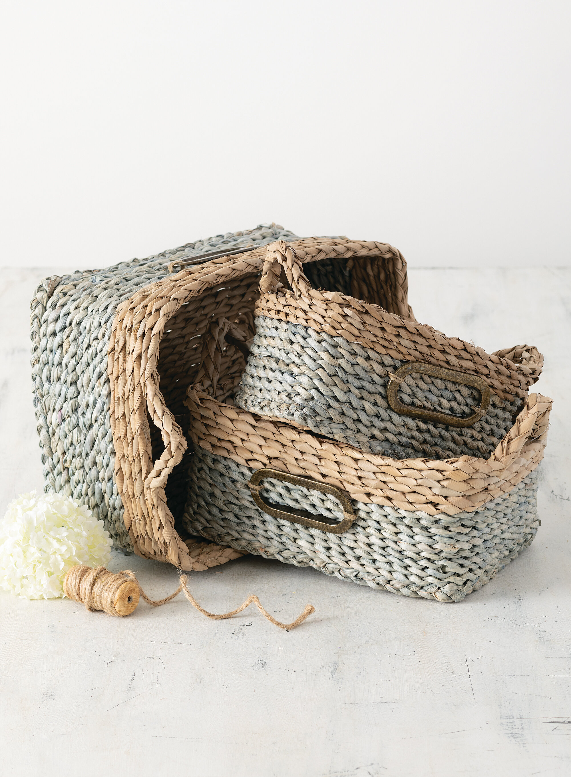 Rosalind Wheeler Rectangle Straw Handled 3 Piece Wicker Basket Set Reviews Wayfair