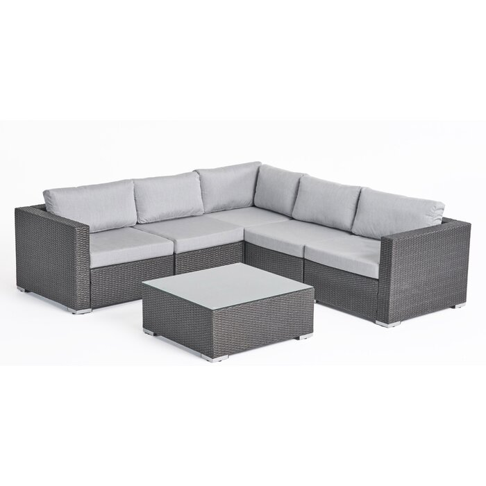 Superb Roxann Outdoor 5 Seater Wicker Sectional Sofa Set With Sunbrella Cushions Ncnpc Chair Design For Home Ncnpcorg