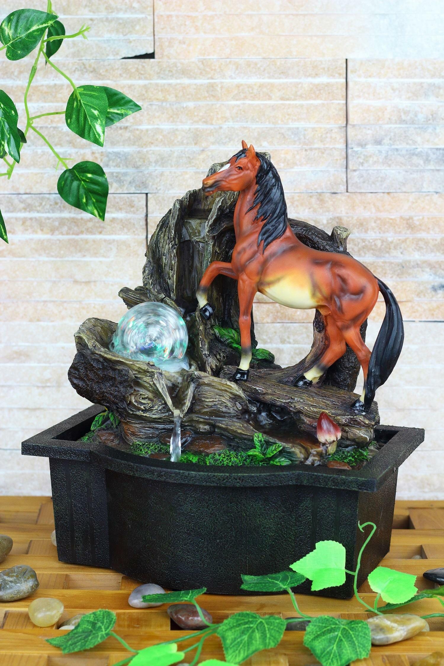 OK Lighting Resin/Fibreglass Horse Table Fountain With LED Light | Wayfair