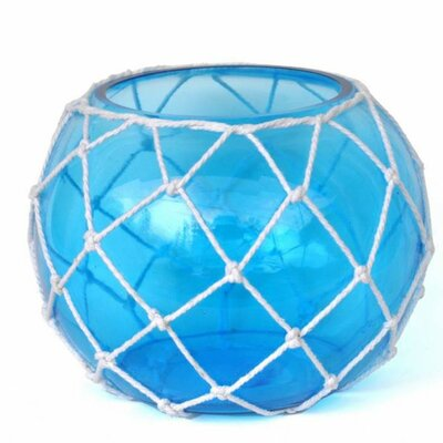 "Japanese Glass Fishing Float Decorative Bowl Handcrafted Nautical Decor Size: 8"" H x 10"" W x 10"" D, Color: Light Blue/White"