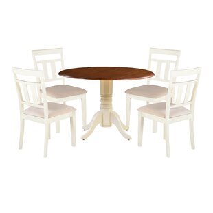 Dahle 5 Piece Drop Leaf Solid Wood Dining Set by August Grove