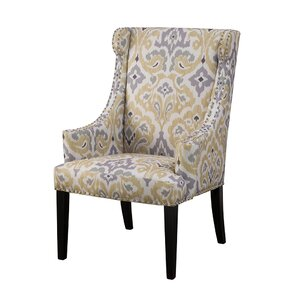 Marcel Wingback Chair. Blue Gray Yellow