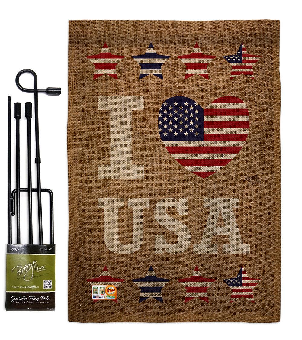 Breeze Decor I Love Usa Americana Patriotic Impressions 2 Sided Polyester 18 5 X 13 In Flag Set Wayfair