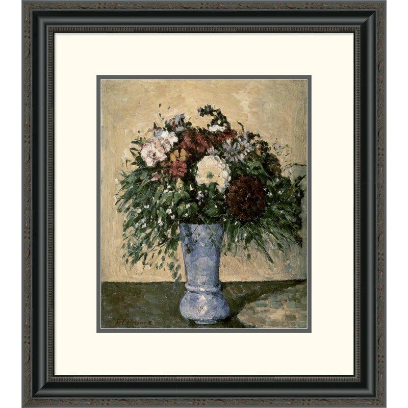 Global Gallery Bouquet In A Blue Vase By Paul Cezanne Framed