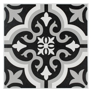 Lima 7.75 inch  x 7.75 inch  Ceramic Field Tile in Black/Gray