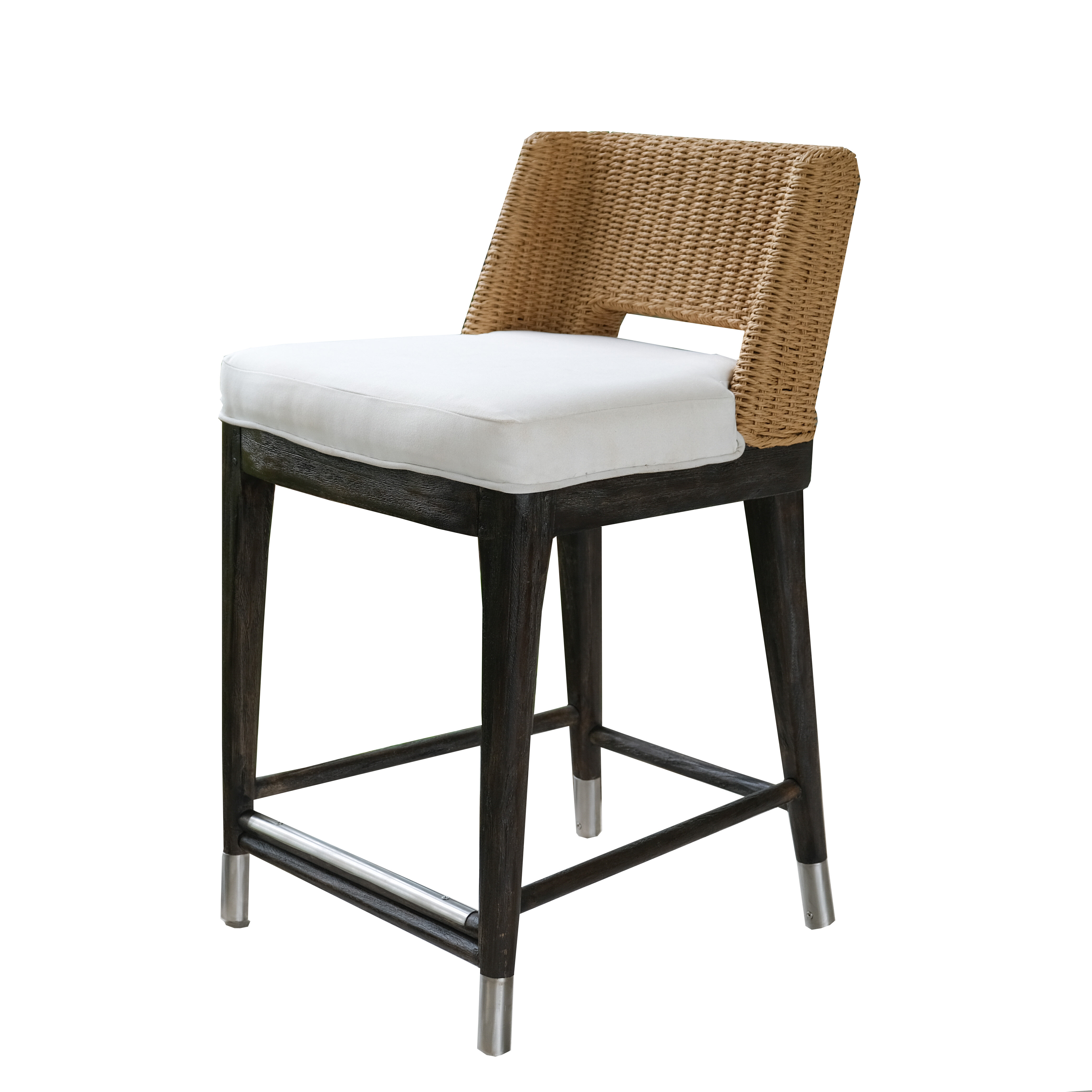 Magnificent Holcomb Roped Outdoor Counter 24 Teak Patio Bar Stool With Cushion Squirreltailoven Fun Painted Chair Ideas Images Squirreltailovenorg