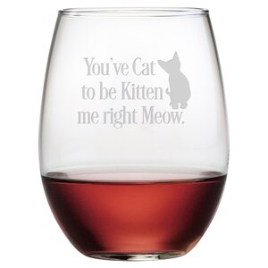 Kitten Me Right Meow 21 oz. Stemless Wine Glass (Set of 4)