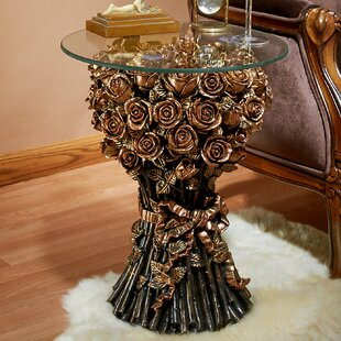 Roses Glass Topped End Table