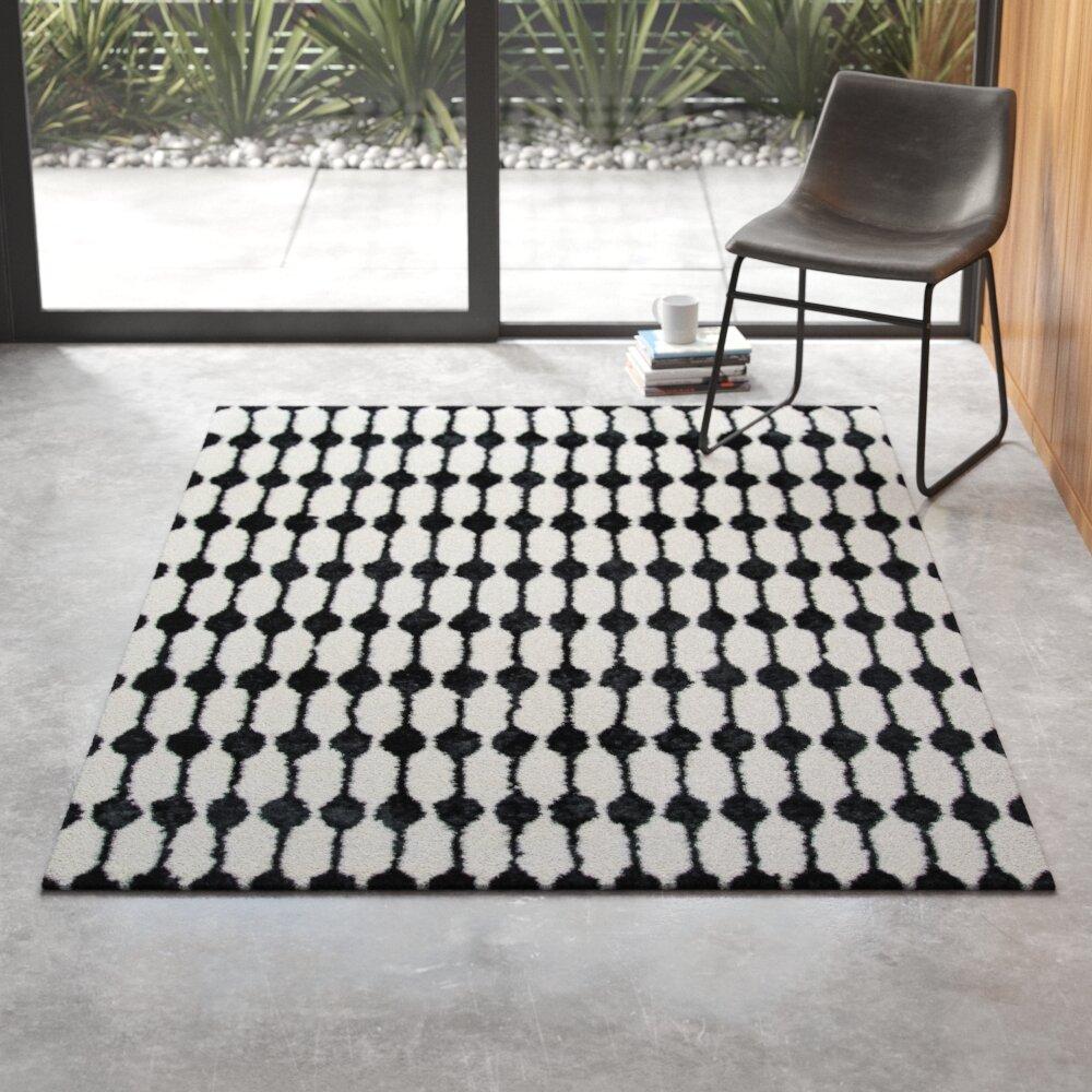 Geometric Handmade Tufted Black White Area Rug Reviews Allmodern