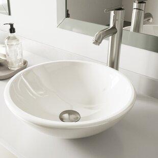 White Phoenix Glass Circular Vessel Bathroom Sink with Faucet VIGO