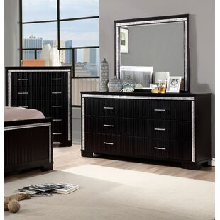 Viridian 6 Drawer Double Dresser With Mirror by House of Hampton 2019 Sale