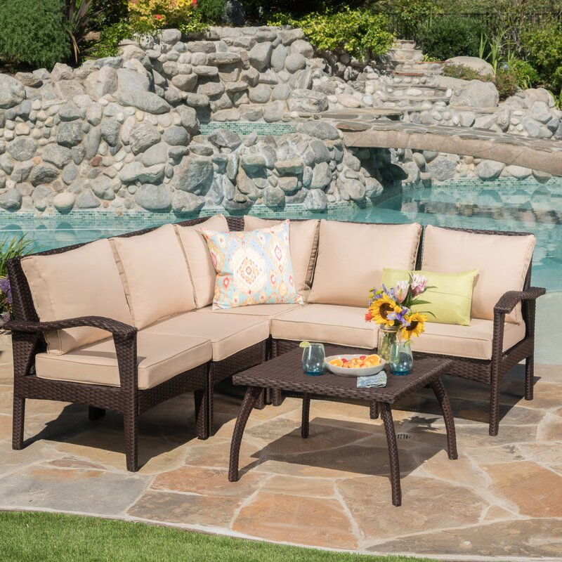Townsend V Shape 6 Piece Sectional Seating Group With Cushion