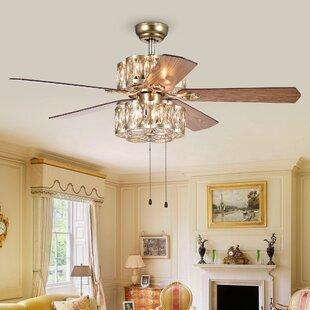 Chandelier crystal ceiling fans youll love wayfair mcgarvey gaspar 3 light led ceiling fan aloadofball Images