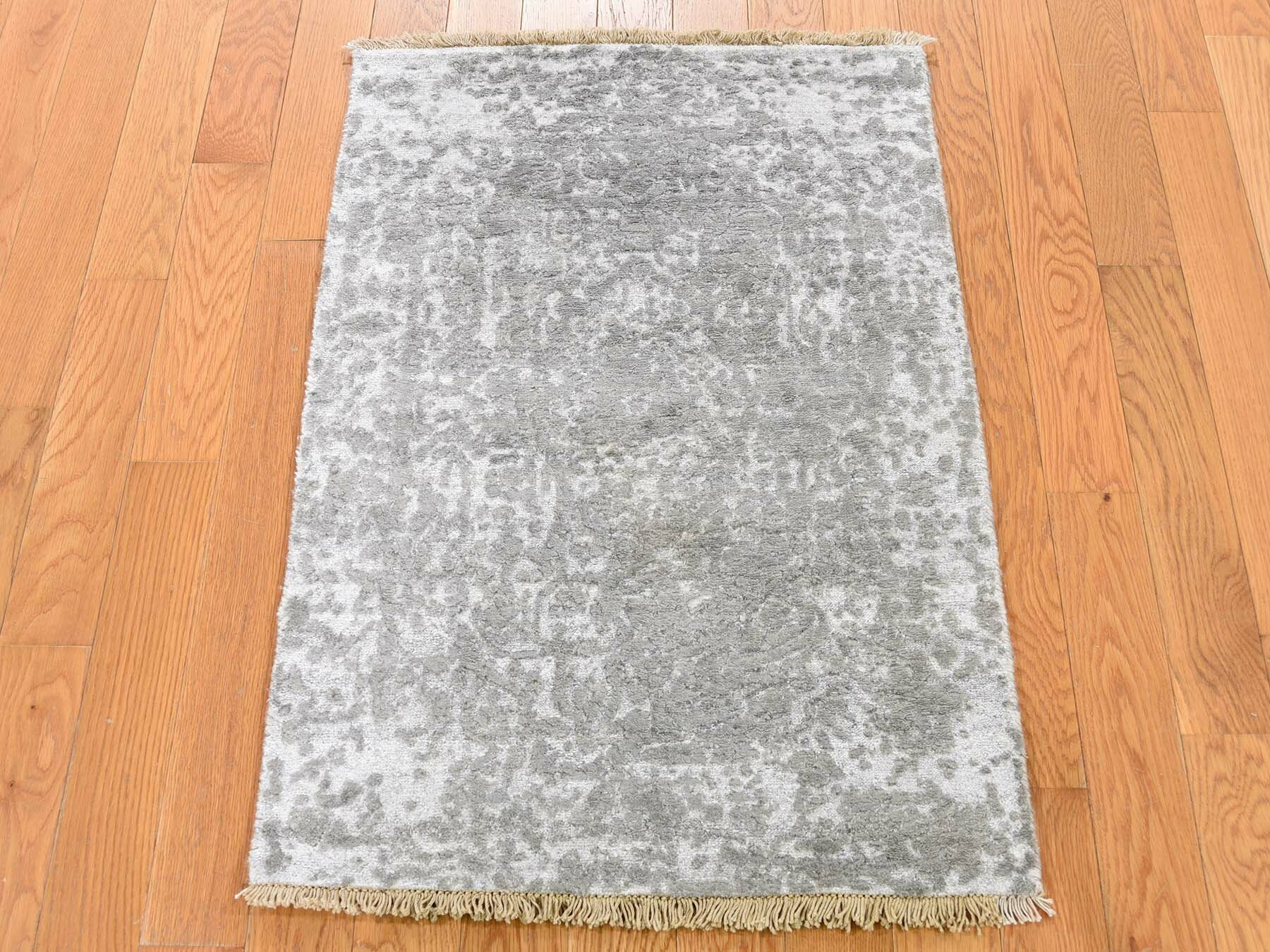One Of A Kind Ottawa Broken Oriental Hand Knotted 2 X 3 Wool Silk Ivory Gray Area Rug