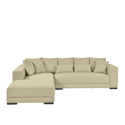 Brayden Studio Douglas Sectional with Ottoman Upholstery: Creamy Tan
