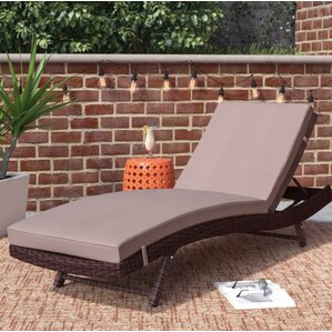Attractive Prudence Reclining Patio Chaise Lounge With Cushion