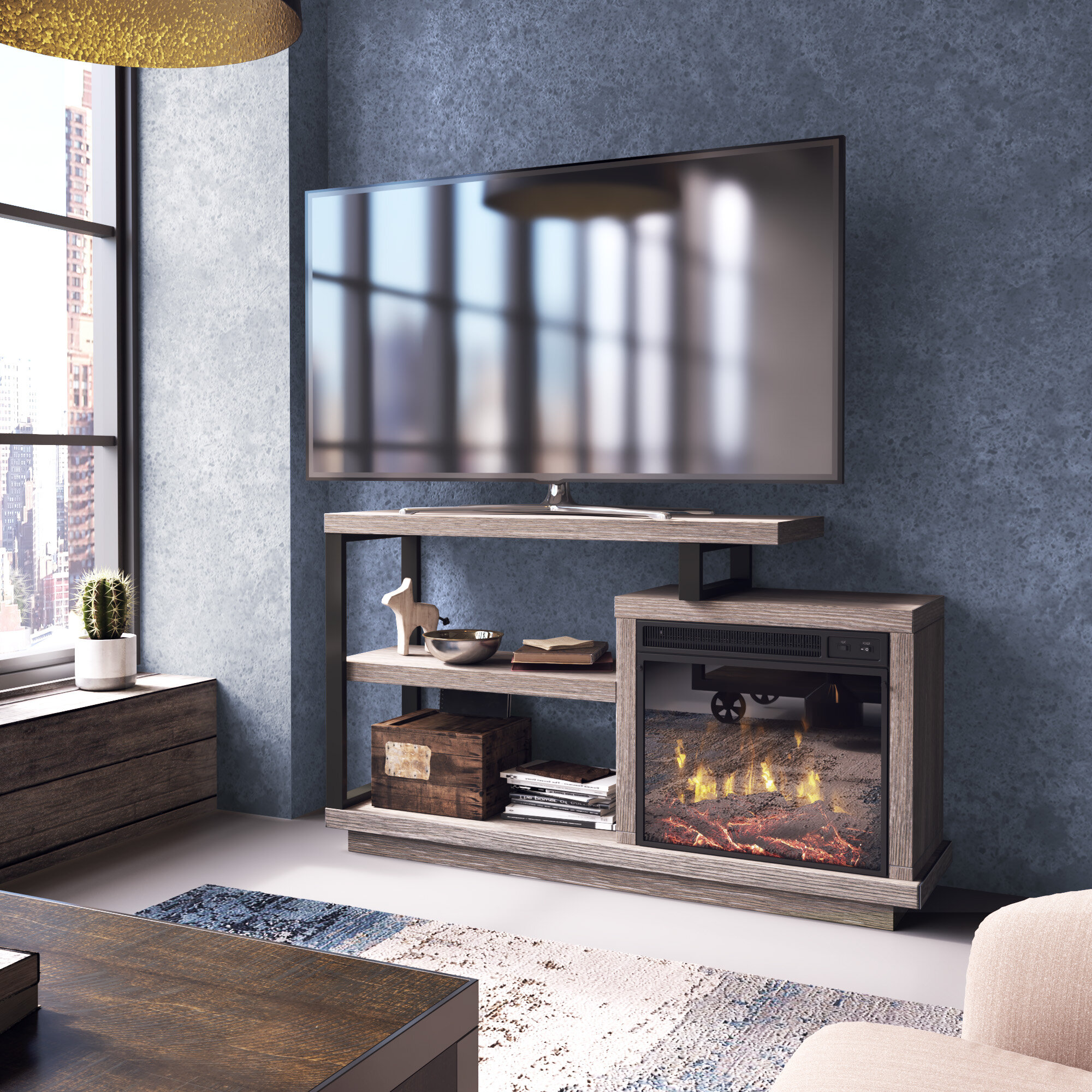 Louann Tv Stand For Tvs Up To 55 Inches With Electric Fireplace Included