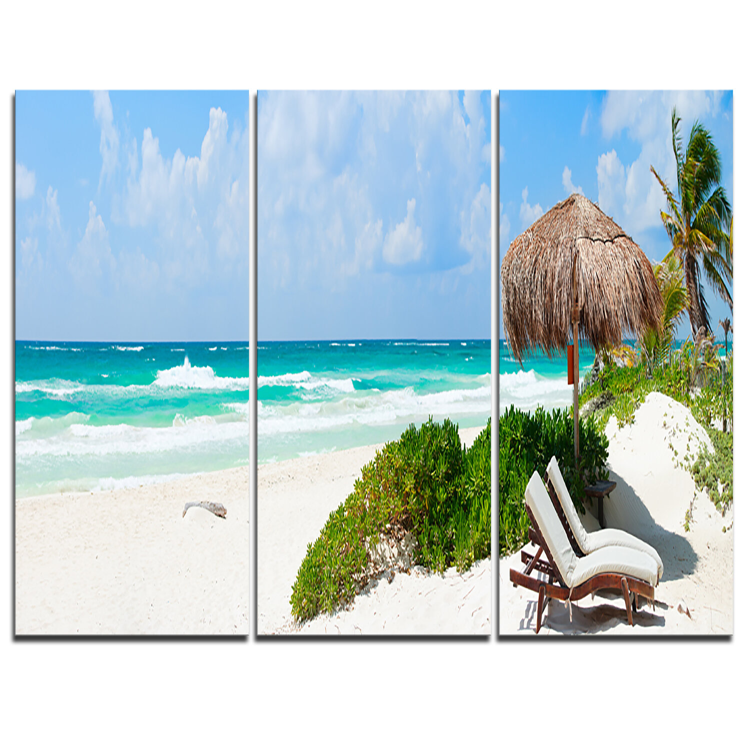 Designart Calm Caribbean Beach Panorama 3 Piece Graphic Art On Wrapped Canvas Set Wayfair