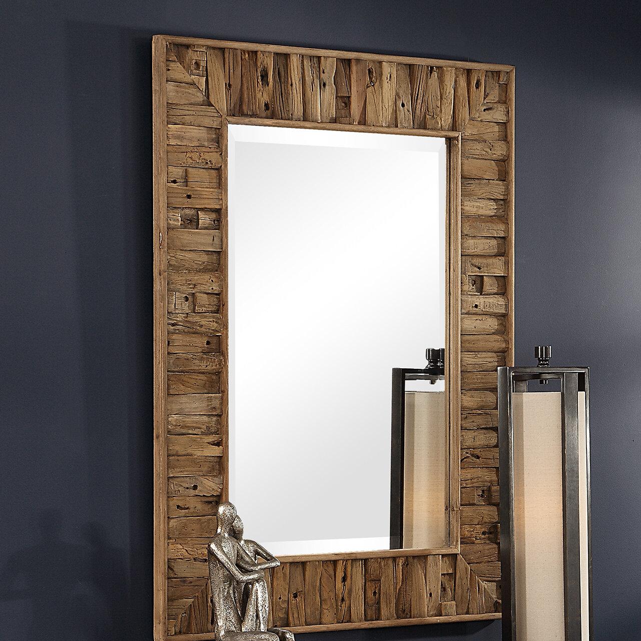Oneybrook Reclaimed Wood Rustic Beveled Accent Mirror Birch Lane