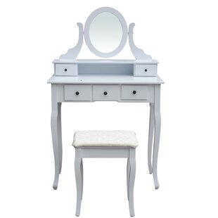 Charlton Home Miracle Bedroom Dressing Table Vanity Set with Mirror