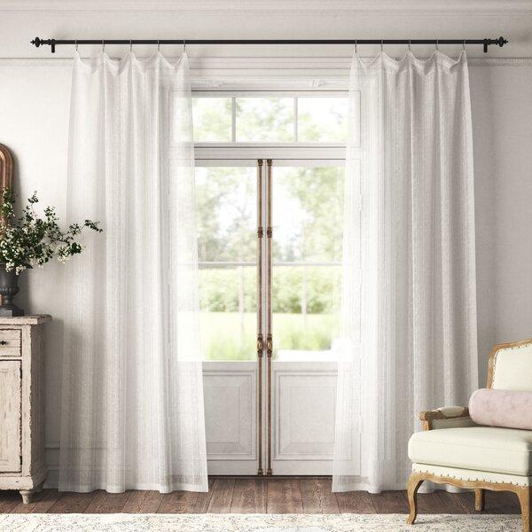 Kelly Clarkson Home Drum Striped Sheer Rod Pocket Single Curtain Panel Reviews Wayfair