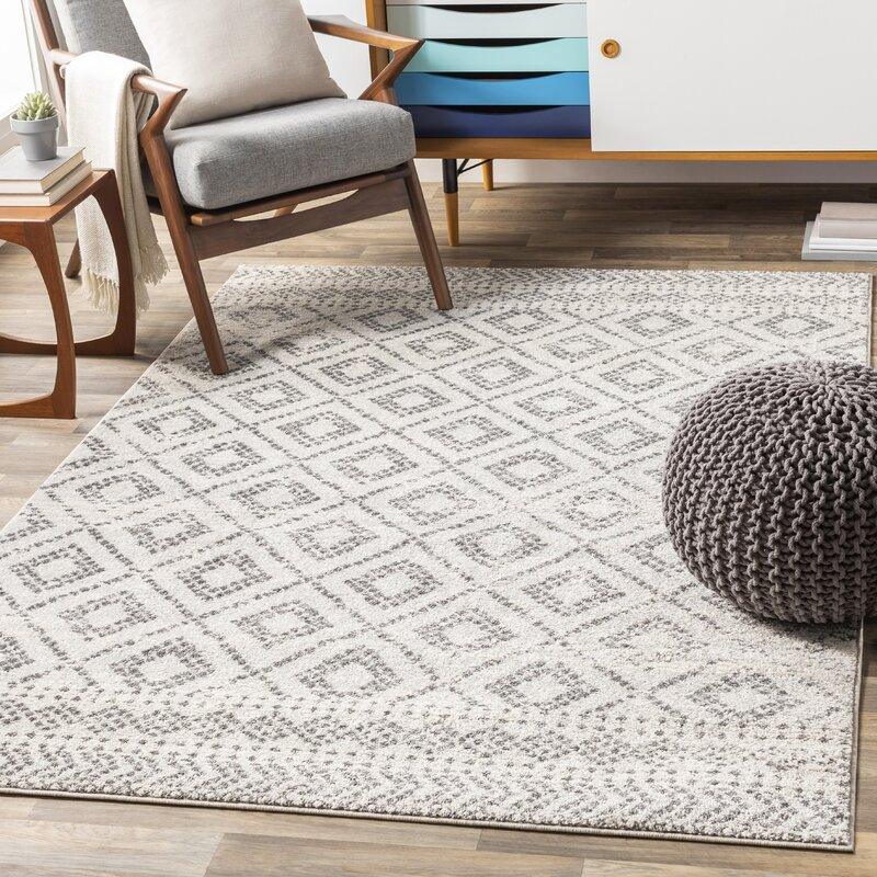 Woodrum Distressed Global Inspired Light Gray White Area Rug