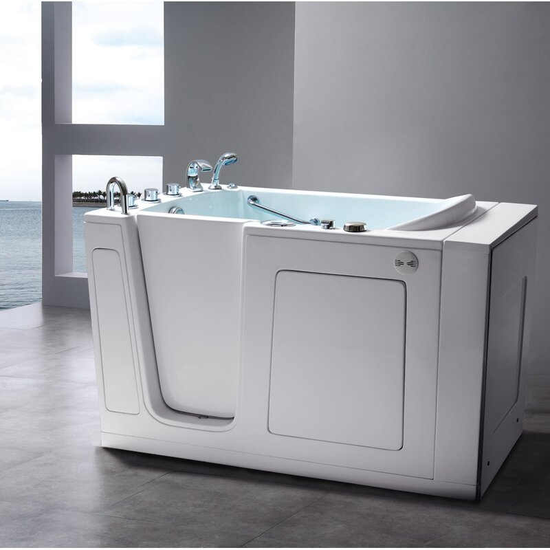 Energy Tubs 60 X 30 Walk In Soaking Fiberglass Bathtub With Faucet And Integrated Seat Wayfair